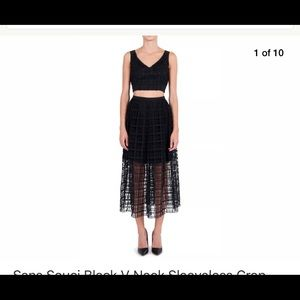 New Sans Souci black mesh 2 piece dress crop top